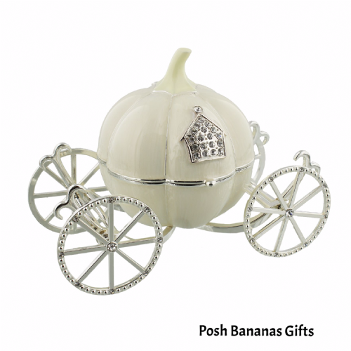 Musical Cinderella Carriage Special Baby Gift Silver Plate & Crystal Trinket Box Christening Baby Girl Gifts